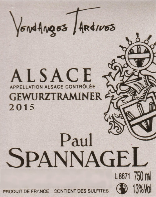 AOC Alsace VENDANGES TARDIVES GEWURZTRAMINER 2015